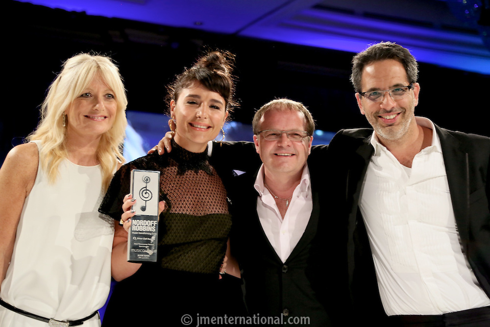 (L-R) Gabby Roslin, Jessie Ware, Chris Gorman - MusicQubed,  Yotam Ottolenghi. The Silver Clef Lunch 2013 in aid of  Nordoff Robbins held at the London Hilton, Park Lane, London.<br /> Friday, June 28, 2013 (Photo/John Marshall JME)