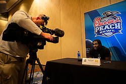 Michigan Wolverines cornerback David Long speaks with the media at the Hyatt Regency on Monday, December 24, 2018 in Atlanta. Michigan will face Florida in the 2018 Peach Bowl on December 29, 2018. (Jason Parkhurst via Abell Images for the Chick-fil-A Peach Bowl)