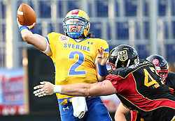 03.06.2014, NV Arena, St. Poelten, AUT, American Football Europameisterschaft 2014, Gruppe A, Schweden (SWE) vs Deutschland (GER), im Bild Philip Juhlin, (Team Sweden, QB, #2) und Sven Rieger, (Team Germany, DL, #47) // during the American Football European Championship 2014 group A game between Sweden vs Germany at the NV Arena, St. Poelten, Austria on 2014/06/03. EXPA Pictures © 2014, PhotoCredit: EXPA/ Thomas Haumer