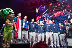 The players singing national anthem during Reception of Slovenian national baskteball team with Gold medal from Eurobasket 2017 - Istanbul and Slovenian women's U23 volleyball team with Silver medal from Women's U23 World Championships - Ljubljana, on September 18, 2017 in Kongresni trg, Ljubljana, Slovenia. Photo by Matic Klansek Velej / Sportida