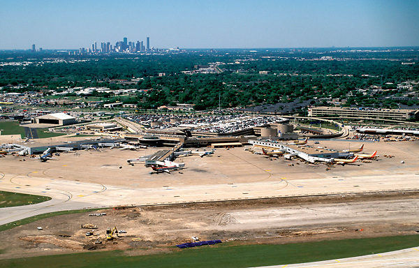 Aerial of Hobby Airport with Downtown Skyline in Background