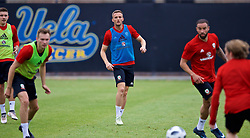 LOS ANGELES, USA - Wednesday, May 23, 2018: Wales' Andy King during a training session at UCLA ahead of the International friendly match against Mexico. (Pic by David Rawcliffe/Propaganda)