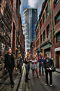 Melbourne's laneways. Guilford Lane. Melbourne Heritage Action, left to right, Paul Beekman, Sharne Thomas, Rohan Storey, Katrina Grant, Rupert Mann, Tristan Davies. Pic By Craig Sillitoe CSZ / The Sunday Age.15/06/2012 This photograph can be used for non commercial uses with attribution. Credit: Craig Sillitoe Photography / http://www.csillitoe.com<br />