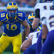 Delaware Linebacker Paul Worrilow #10 at the line of scrimmage during a Week 2 NCAA football game against Westchester in the first quarter.  ..#8 Delaware defeated Westchester 28-17  in their home opener at Delaware Stadium Saturday Sept. 10, 2011 in Newark DE...Delaware will return home Sept. 17, 2011 for a showdown with interstate Rival Delaware State at 6:pm at Delaware Stadium. (Monsterphoto/Saquan Stimpson)