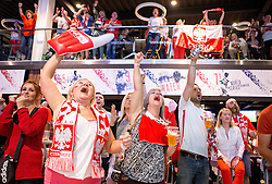 Poland fans cheer as they see their nation draw 0-0 with Germany on the big screen in the Sports Bar and Grill at Ashton Gate - Mandatory by-line: Robbie Stephenson/JMP - 16/06/2016 - FOOTBALL - Ashton Gate - Bristol, United Kingdom  - Germany vs Poland - UEFA Euro 2016
