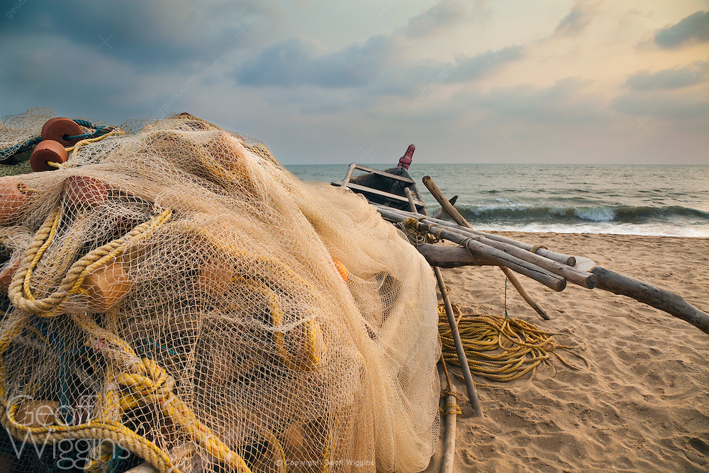 Indian traditional outrigger fishing boat, Palolem, Goa