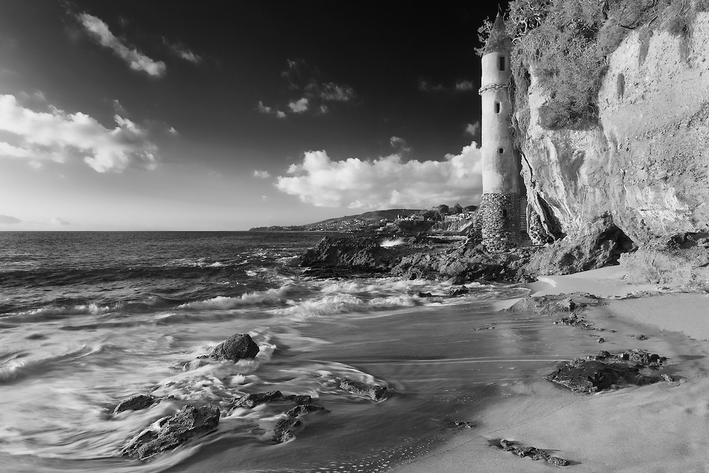 Victoria Beach Spire Stairwell Crashing Surf - Sunset - Infrared Black & White