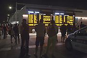 The board with the departure times of the trains from Rho-Pero station at the west entrance Triulza, in Expo 2015, Rho-Pero, Milan, in June 2015.&copy; Carlo Cerchioli<br /> <br /> Il tabellone con gli orari delle partenze dei treni dalla stazione di Rho-Pero presso l'ingresso ovest Triulza a Expo 2015, Rho-Pero, Milano, giugno 2015.