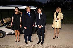 Emmanuel Macron and Donald Trump leave Mount Vernon - 23 April 2018