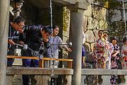 Kiyomizu-dera, temple, Kyoto, Japan. Pilgrims purify themselves with holy water