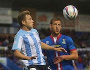Dundee's Greg Stewart and Inverness Caledonian Thistle's Gary Warren - Inverness Caledonian Thistle v Dundee, SPFL Premiership at Tulloch Caledonian Stadium<br /> <br />  - &copy; David Young - www.davidyoungphoto.co.uk - email: davidyoungphoto@gmail.com