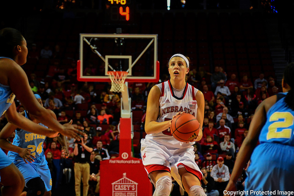 Jordan Hooper focuses on free throw opportunity while playing for the Huskers in 2013. Photo by Mosley Images.