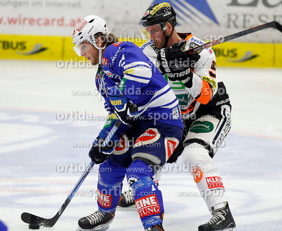 27.10..2013, Stadthalle, Villach, AUT, EBEL, EC VSV vs Moser Medical Graz99ers, 28. Runde, im Bild John Hughes (VSV,#72) und Dustin VanBallegooie (Graz99ers,#5) // during the Erste Bank Icehockey League 28th round between EC VSV vs Moser Medical Graz99ers, at the City Hall, Villach, Austria, 2013/10/27, EXPA Pictures © 2013, PhotoCredit: EXPA/ Oskar Hoeher