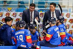 Jim Paek, head coach of South Korea talking to players during ice hockey match between South Korea and Slovenia at IIHF World Championship DIV. I Group A Kazakhstan 2019, on April 30, 2019 in Barys Arena, Nur-Sultan, Kazakhstan. Photo by Matic Klansek Velej / Sportida