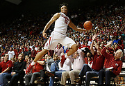 Alabama guard Dazon Ingram (12) leaps out of bounds to try and save a ball against Kentucky in Coleman Coliseum Saturday, February 11, 2017. [Staff Photo/Gary Cosby Jr.]