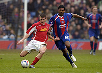 Photo: Olly Greenwood.<br />Crystal Palace v Crewe Alexander. Coca Cola Championship. 15/04/2006. Crewes Billy Jones and Palaces Mikele Leigertwood