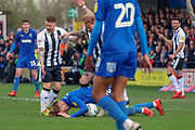 AFC Wimbledon striker Joe Pigott (39) battles for possession and laying on the ball during the EFL Sky Bet League 1 match between AFC Wimbledon and Gillingham at the Cherry Red Records Stadium, Kingston, England on 23 March 2019.