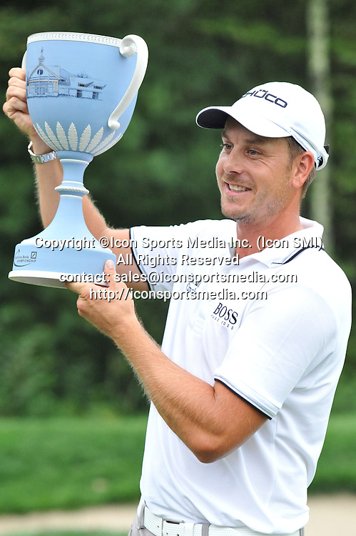 02 September 2013:Henrik Stenson poses with the trophy after the win at the Deutsche Bank Championship posting a tournament score of -22 and a score of -5 for the day during the Final Round of the Deutsche Bank Championship at TPC Boston in Norton, MA***Editorial Use Only*****