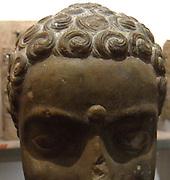 part of a cult statue, 2nd century Buddha head The Amaravati School (1st century BC - 3rd century AD) the limestone sculpture Andhra Pradesh, India (South)