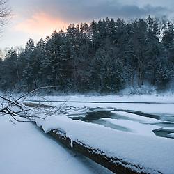 The Ottauquechee River in winter.  Quechee, Vermont.  Dawn.