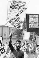 Demonstrators from various parts of Britain march through Sheffield to the headquarters of the Manpower Services Commission to protest against Workfare the new Tory Adult Training Scheme. The march was organised by Unemployed Centre workers who are members of the TGWU. 15.6.88