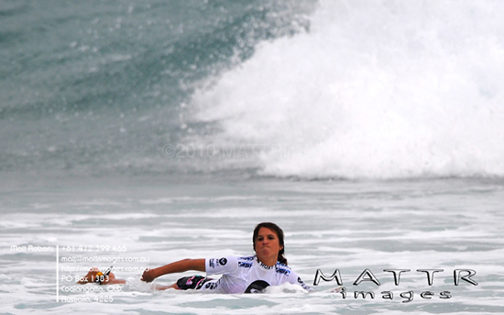Gold Coast, Australia - March 5: Sofia Mulanovich out of the quarter finals of the Roxy Pro Gold Coast 2010 at Snapper Rocks on the Gold Coast, March 5, 2010 Photo by Matt Roberts/MATTRimages.com.au | Image ID: MTR_0965.jpg