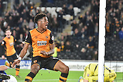 Hull City striker Chuba Akpom celebrates knocking goal number two in for hull city during the Sky Bet Championship match between Hull City and Ipswich Town at the KC Stadium, Kingston upon Hull, England on 20 October 2015. Photo by Ian Lyall.