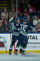 KELOWNA, CANADA - JANUARY 5: Aaron Hyman #6 and Nikita Malukhin #15 of the Seattle Thunderbirds celebrate a first period goal against the Kelowna Rockets on January 5, 2017 at Prospera Place in Kelowna, British Columbia, Canada.  (Photo by Marissa Baecker/Shoot the Breeze)  *** Local Caption ***