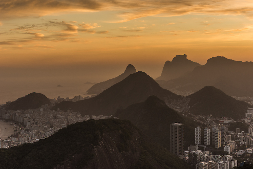 The city of Rio de Janeiro at sunset with on the background Copacabana and Ipanema beach, Brazil.