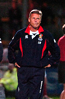 Photo: Ed Godden.<br /> Cheltenham Town v Bristol City. Carling Cup. 22/08/2006.<br /> Cheltenham Manager John Ward takes an worrying look at the clock.