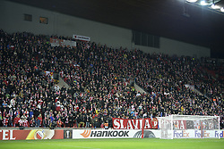 February 14, 2019 - Prague, CZECH REPUBLIC - Slavia's supporters pictured at the start of a soccer game between Czech club SK Slavia Praha and Belgian team KRC Genk, the first leg of the 1/16 finals (round of 32) in the Europa League competition, Thursday 14 February 2019 in Prague, Czech Republic. BELGA PHOTO YORICK JANSENS (Credit Image: © Yorick Jansens/Belga via ZUMA Press)