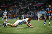 Camille CHAT (Racing 92) scored a try during the French championship Top 14 Rugby Union match between Racing 92 and SU Agen on September 8, 2018 at U Arena in Nanterre, France - Photo Stephane Allaman / ProSportsImages / DPPI