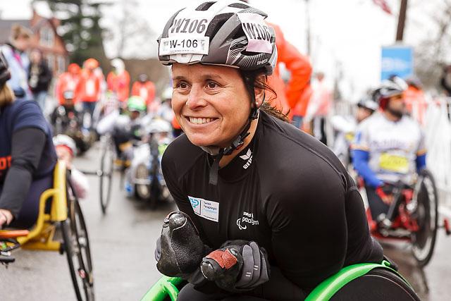 Sandra Graf of Switzerland smiles before start of push-rim race