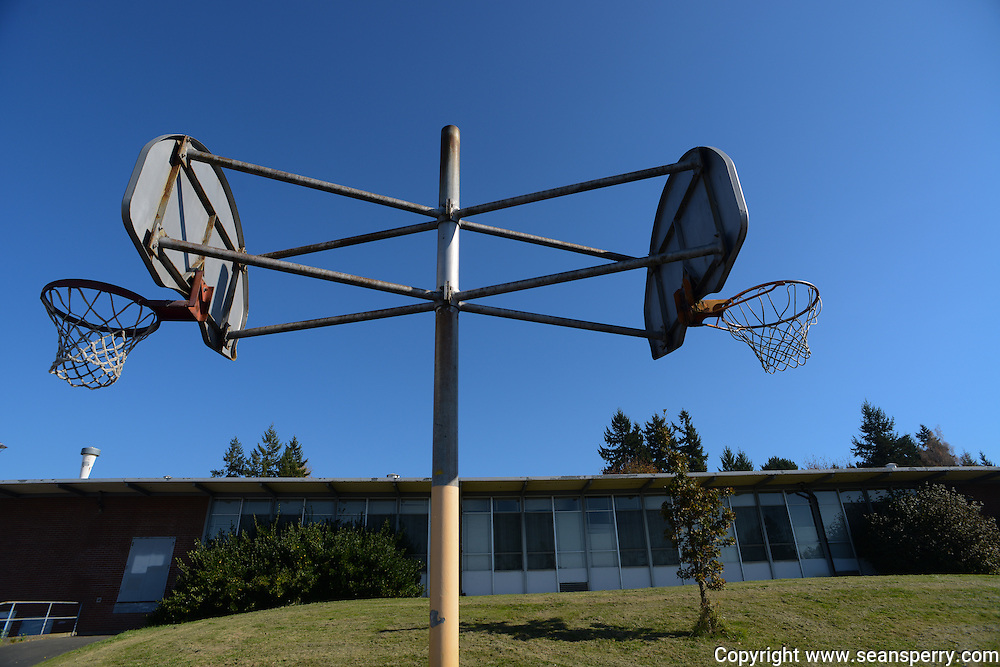 Basketball hoops still up and fully functional at the Smith Elementary School.