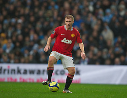 MANCHESTER, ENGLAND - Sunday, January 8, 2012: Manchester United's Paul Scholes comes out of retirement to face Manchester City during the FA Cup 3rd Round match at the City of Manchester Stadium. (Pic by David Rawcliffe/Propaganda)