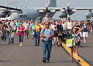 New Windsor, New York - People look at aircraft on static display during the second day of the New York Air Show at Stewart International Airport on Aug. 30, 2015.