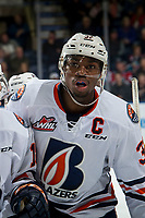 KELOWNA, BC - MARCH 09:  Jermaine Loewen #32 of the Kamloops Blazers skates to the bench against the Kelowna Rockets at Prospera Place on March 9, 2019 in Kelowna, Canada. (Photo by Marissa Baecker/Getty Images)