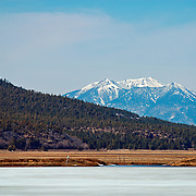 View of the San Francisco Peaks from Mormon Lake - Northern Arizona