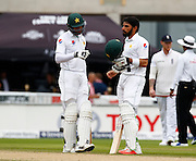 24.07.2016. Old Trafford Cricket Ground, Manchester, England. International Cricket 2nd Investec Test England versus Pakistan. Pakistan's overnight pairing captain Misbah al-Haq and Pakistan batsman Shan Masood. Pakistan started the 3rd day on 57-4, trailing England by 532 runs.
