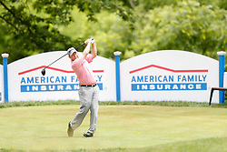 June 22, 2018 - Madison, WI, U.S. - MADISON, WI - JUNE 22: Kent Jones tees off on the eighteenth tee during the American Family Insurance Championship Champions Tour golf tournament on June 22, 2018 at University Ridge Golf Course in Madison, WI. (Photo by Lawrence Iles/Icon Sportswire) (Credit Image: © Lawrence Iles/Icon SMI via ZUMA Press)