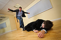 """Selected cast members of the stage play """"Stags & Hens' seen here in rehearsal. Pictured LtoR Andy Wilson, Tim Bettridge"""