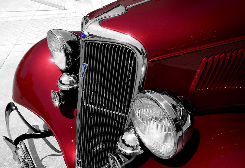 A high contrast image of an iconic hot rod.