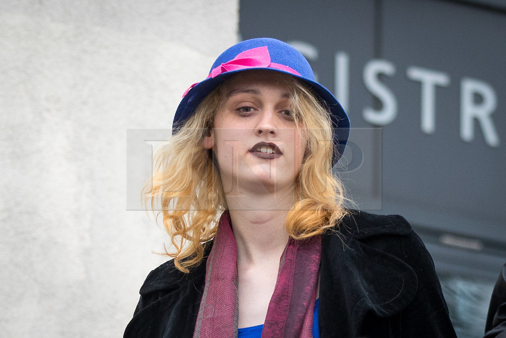 © Licensed to London News Pictures. 13/04/2018. London, UK. Transgender activist Tara Wolf leaves Hendon Magistrates Court, after being found guilty of assault by beating on the second day of her trial. The incident happened during a clash with Maria Maclachlan (not pictured) at Speakers' Corner, in Hyde Park last September. Wolf was given a £400 fine. Photo credit : Tom Nicholson/LNP