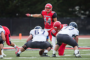 Community College of San Francisco linebacker Chaz Briggs (44) directs traffic against College of Siskiyous at Community College of San Francisco in San Francisco, Calif., on September 10, 2016. (Stan Olszewski/Special to S.F. Examiner)