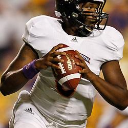 September 10, 2011; Baton Rouge, LA, USA;  Northwestern State Demons quarterback Brad Henderson (10) against the LSU Tigers during the second half at Tiger Stadium. LSU defeat Northwestern State 49-3. Mandatory Credit: Derick E. Hingle