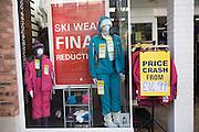 Shop window sale display ski clothing