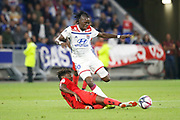 Traore Bertrand of Lyon and Tameze Aoutsa Adrien of Nice during the French championship L1 football match between Olympique Lyonnais and Amiens on August 12th, 2018 at Groupama stadium in Decines Charpieu near Lyon, France - Photo Romain Biard / Isports / ProSportsImages / DPPI