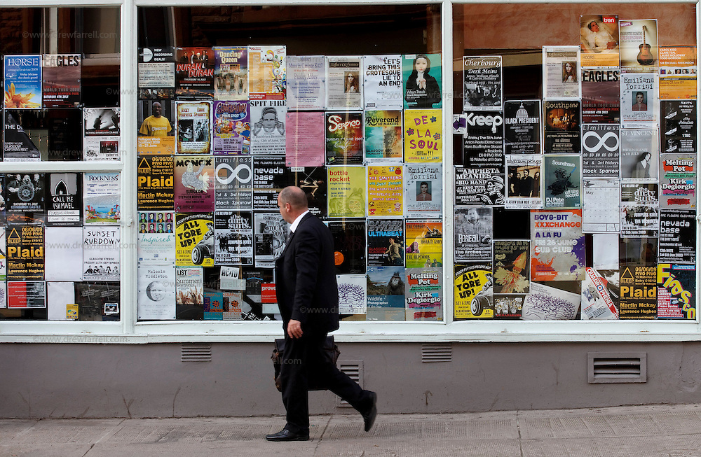 Picture shows : Posters on windows - King Street. Merchant City Area, Glasgow. Travel guide feature..Picture Drew Farrell. tel : 07721-735041......