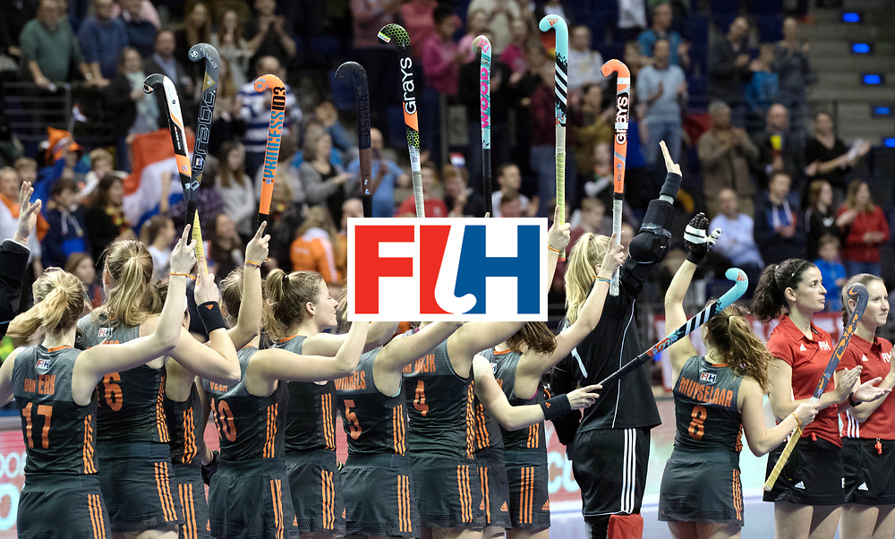BERLIN - Indoor Hockey World Cup<br /> SF1 Netherlands - Ukraine<br /> foto: Line Up<br /> WORLDSPORTPICS COPYRIGHT FRANK UIJLENBROEK