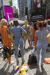 June 9, 2017 - New York, New York, United States - Painted naked models for Human Connection Arts present Body Notes Bash on Times Square organized by artist Andy Golub. (Credit Image: © Lev Radin/Pacific Press via ZUMA Wire)